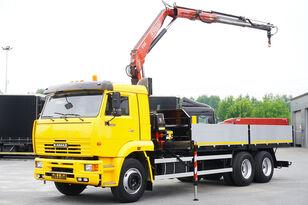 KAMAZ 65117 , 6x4 , Crane Fassi 95 , rotator , box 6m fladvogn lastbil