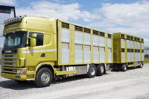 SCANIA R164 V8 , 6x2 , 2 hydraulic decks , 70m2 , live stock  kreaturvogn + anhænger kreaturvogn