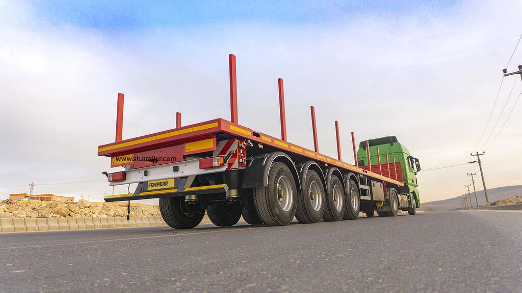 STU 4 axle Container Carrier Flatbed Trailer Sættevogn platform